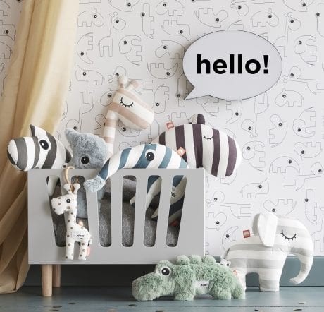 grey wooden dolls bed fullof Done by Deer soft toys