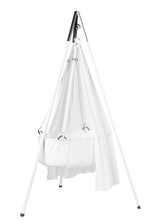The Leander Cradle suspended in tripod with canopy