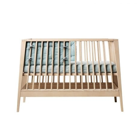 Linea by Leander cot in natural beech with blue bumper