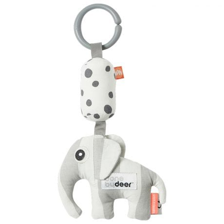 striped baby rattle with elephant and attachment ring
