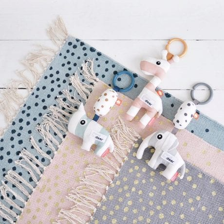 done by deer animal rattles in pink, blue or grey with ring for attaching