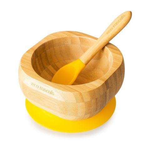 Eco rascal organic bamboo suction bowl in yellow