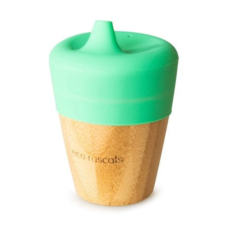 Eco Rascals organic bamboo sippy cup with silicone lid in green