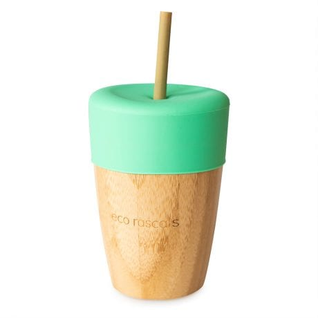 Eco Rascals organic bamboo large cup with silicone lid in green and bamboo straw