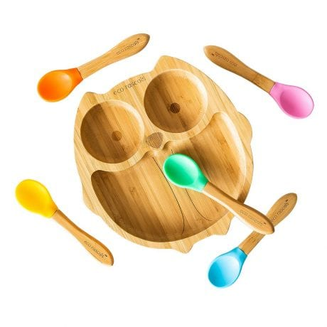 eco rascals organic bamboo owl plate with assorted spoons