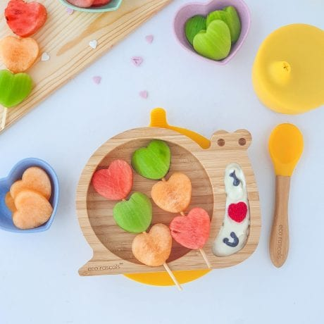 Eco rascals bamboo snail suction plate with melon skewers and sippy cup in yellow