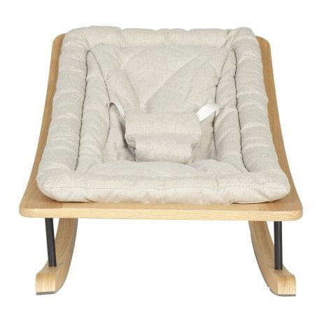 Quax baby rocking bouncer in sand grey fabric with ash wood front on
