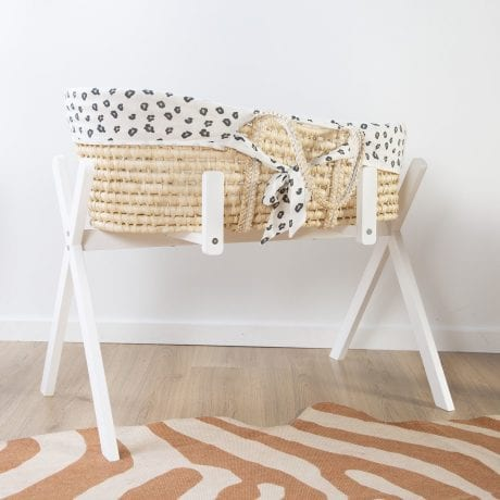 Childhome Corn Husk Moses Basket in Tipi Stand with Cotton Insert