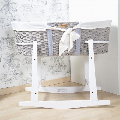 Childhome Grey Moses Basket in Rocking Stand with Jersey Insert
