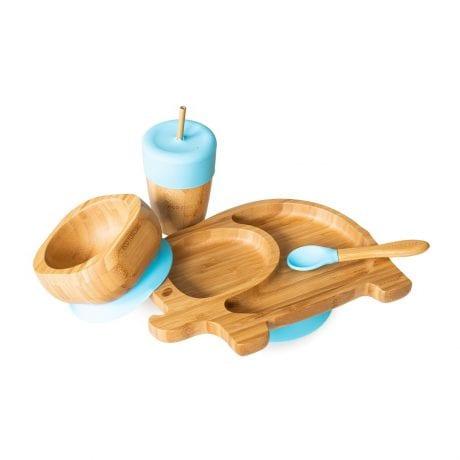 Bamboo Elephant Dinnerware Gift Set Blue